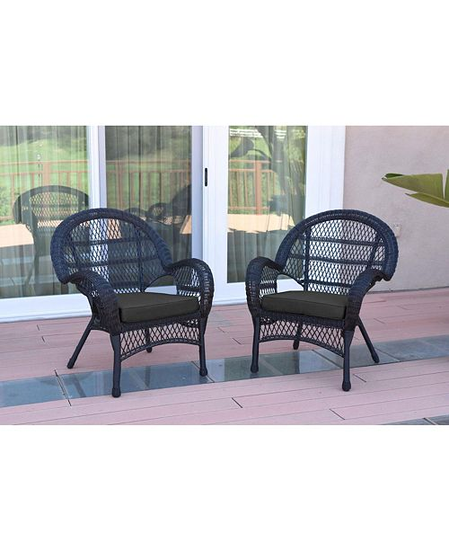 Jeco Santa Maria Wicker Chair with Cushion - Set of 2