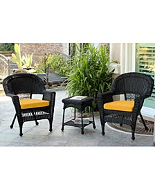 Wicker Chair and End Table Set with Cushion
