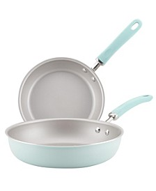 "Create Delicious Aluminum Nonstick Skillet 9.5"" and 11.75"" Twin Pack"