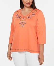 Alfred Dunner Plus Size Lake Tahoe Embellished Top