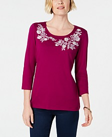Embroidered Cotton Top, Created for Macy's