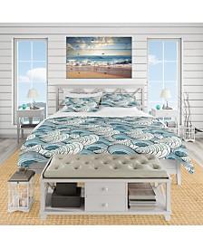 Designart 'Great Wave Inspiration' Coastal Pattern Duvet Cover Set - King