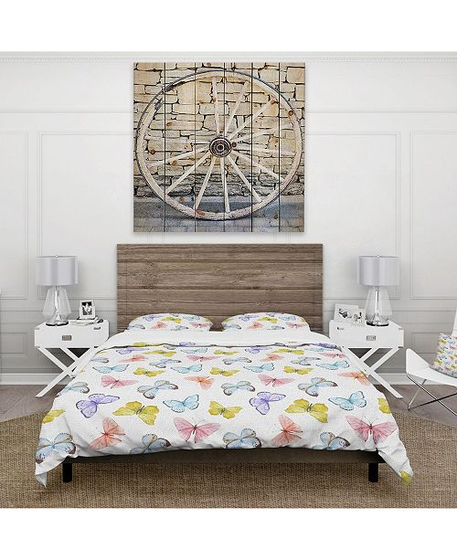 Design Art Designart 'Watercolor Butterfly Pattern' Cabin and Lodge Duvet Cover Set - Twin