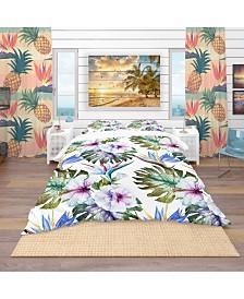Designart 'Watercolor Hibiscus Patterns' Tropical Duvet Cover Set - King