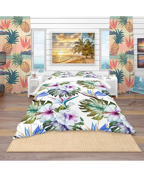 Design Art Designart 'Watercolor Hibiscus Patterns' Tropical Duvet Cover Set - King