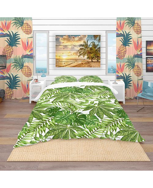 Design Art Designart 'Exotic Pattern With Tropical Leaves' Tropical Duvet Cover Set - Twin