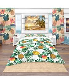 Designart 'Pineapple, Mango, Starfruit, Carambola and Leaves' Tropical Duvet Cover Set - Twin