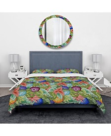 Designart 'Abstract Flowers And Leaves' Traditional Duvet Cover Set - Twin