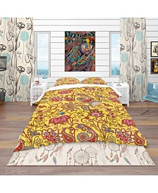 Designart 'Pattern In Ethnic Traditional Style' Bohemian and Eclectic Duvet Cover Set - Queen