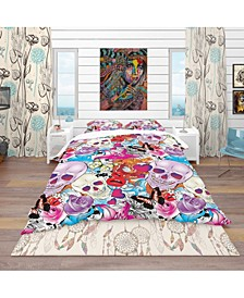 Designart 'Pattern With Hearts, Skulls and Flowers' Bohemian and Eclectic Duvet Cover Set