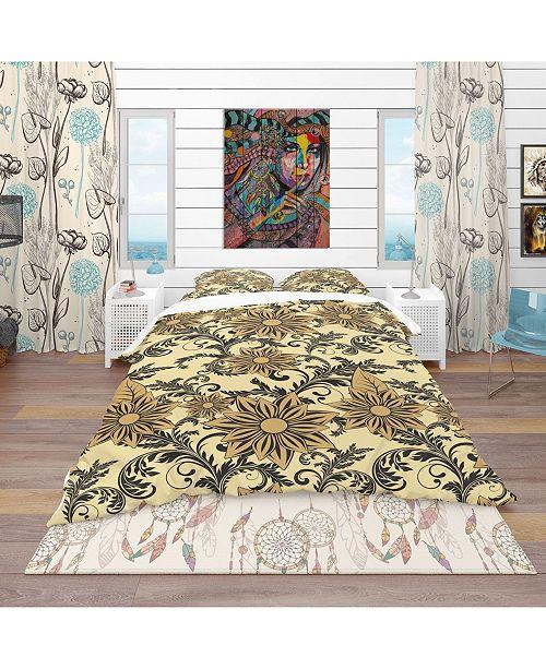 Design Art Designart 'Floral Background' Bohemian and Eclectic Duvet Cover Set - Queen