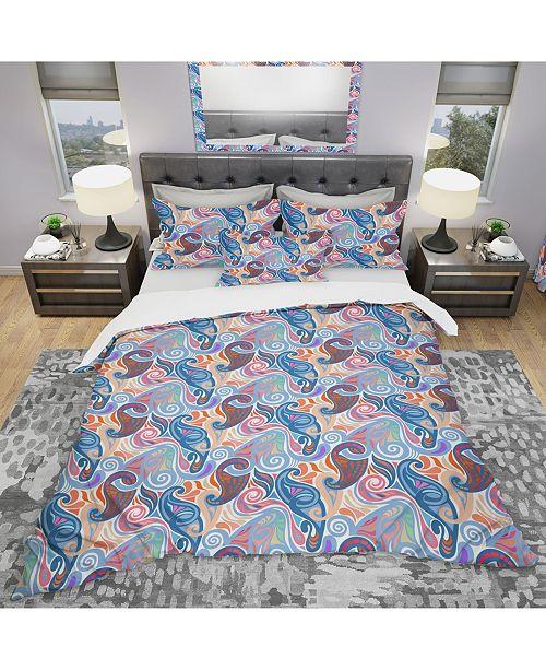 Design Art Designart 'Colorful Abstract Paisley Pattern' Modern Duvet Cover Set - Queen