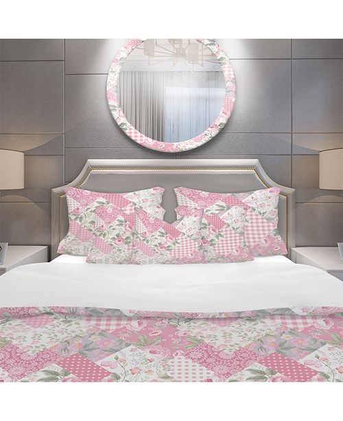 Design Art Designart 'Decorative Patchwork Floral Pattern' Patterned Duvet Cover Set - Twin