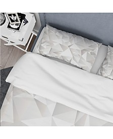 Designart 'White Crumpled Abstract' Scandinavian Duvet Cover Set - King