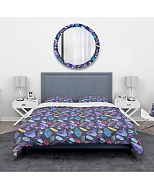 Designart 'Pattern With Watercolor Crystals With Star Sky' Modern and Contemporary Duvet Cover Set - King