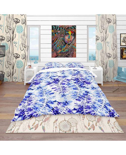 Design Art Designart 'Leaves And Flowers Pattern' Tropical Duvet Cover Set - Queen