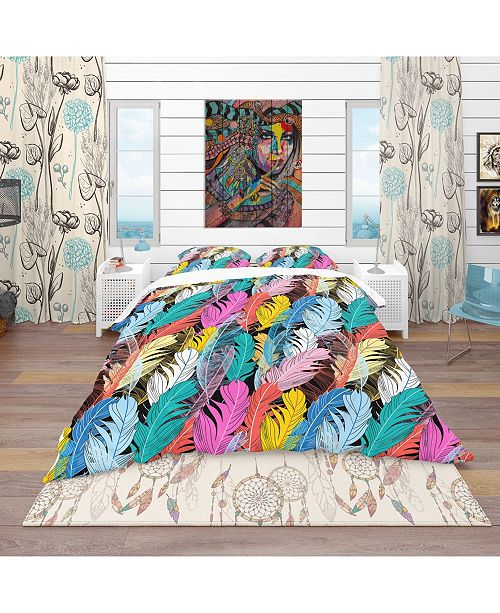 Design Art Designart 'Graphic Pattern Multicolored Feathers' Southwestern Duvet Cover Set - Twin