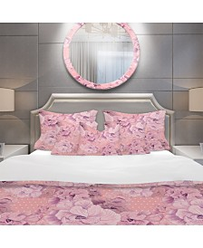 Designart 'Pink Flowers Composition' Bohemian and Eclectic Duvet Cover Set - Queen