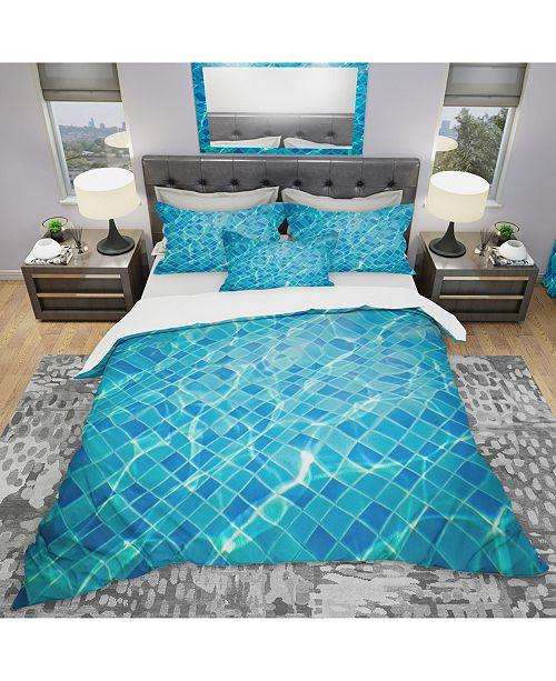 Design Art Designart 'Indigo Swimming' Modern and Contemporary Duvet Cover Set - Queen