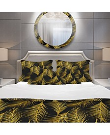 Designart 'Golden Tropical Leaves Pattern' Modern and Contemporary Duvet Cover Set - Twin