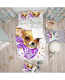 Designart 'Cute Puppy Dog With Neck Shawl' Modern and Contemporary Duvet Cover Set - Queen