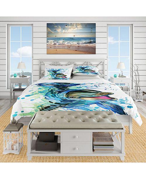 Design Art Designart 'Large Blue Dolphin Watercolor' Nautical and Coastal Duvet Cover Set - King