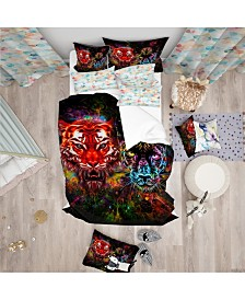 Designart 'Tiger And Panther With Splashes' Modern Kids Duvet Cover Set - Queen