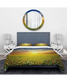 Designart 'Beauty Sunset Over Sunflowers Field' Traditional Duvet Cover Set - Queen