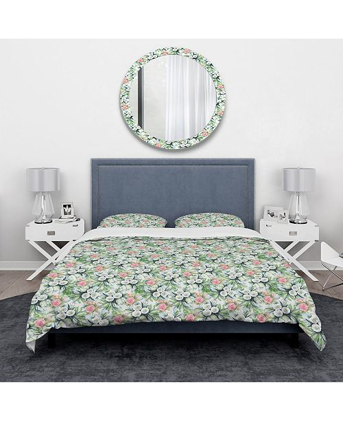 Design Art Designart 'Blue, Purple White Abstract Floral Pattern' Traditional Duvet Cover Set - Twin