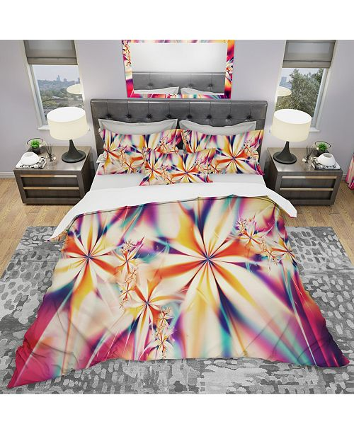 Design Art Designart 'Crystalize Pink Floral' Modern and Contemporary Duvet Cover Set - Twin