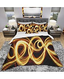 Designart 'Gold Shock Abstract' Modern and Contemporary Duvet Cover Set - Queen