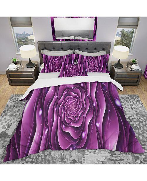 Design Art Designart 'Purple Rose' Modern and Contemporary Duvet Cover Set - Queen