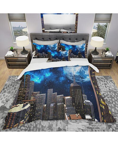 Design Art Designart 'Abstract City At Night' Modern and Contemporary Duvet Cover Set - King