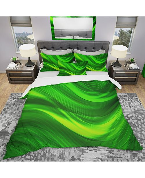 Design Art Designart 'Green Laser' Modern and Contemporary Duvet Cover Set - King