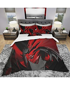 Designart 'Red And Grey Mixer' Modern and Contemporary Duvet Cover Set - King