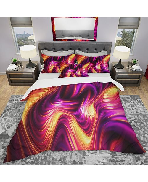 Design Art Designart 'Pink And Orage Fluidity' Modern and Contemporary Duvet Cover Set - Twin