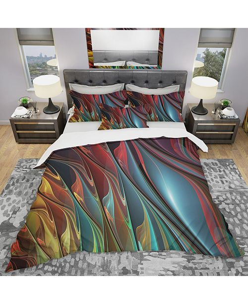 Design Art Designart 'Leaves Of Color' Modern and Contemporary Duvet Cover Set - Twin