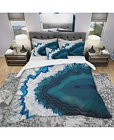 Designart 'Blue Brazilian Geode' Modern and Contemporary Duvet Cover Set - King