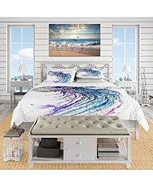 Designart 'Jelly Fish Watercolor' Tropical Duvet Cover Set - Queen