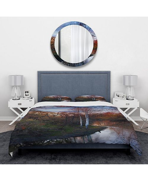 Design Art Designart 'Forest River In The Spring' Traditional Duvet Cover Set - Twin