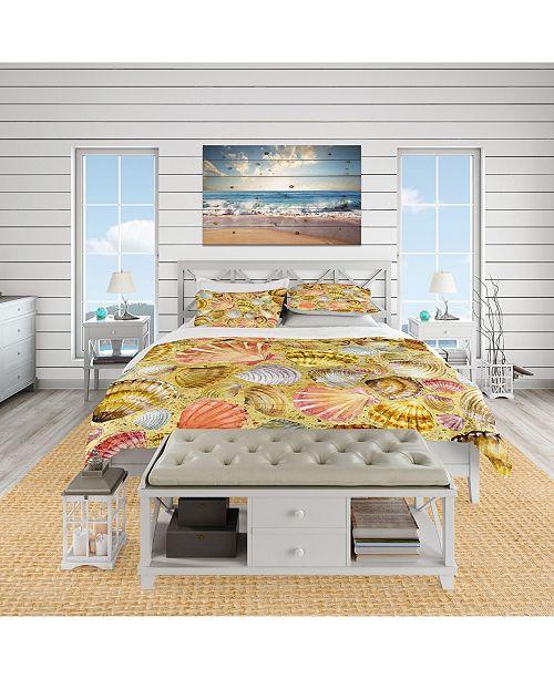 Design Art Designart 'Seashell And Sea Sand' Coastal Duvet Cover Set - Queen