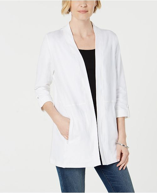 Karen Scott Sport Zip Pocket Cardigan, Created for Macy's