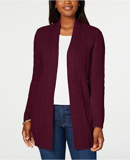 Karen Scott Petite Cable-Knit Cardigan, Created For Macy's