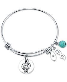Dance Charm and Manufactured Turquoise (8mm) Bangle Bracelet in Stainless Steel