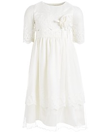 Bonnie Jean Little Girls Embroidered Lace Point D-Esprit Dress