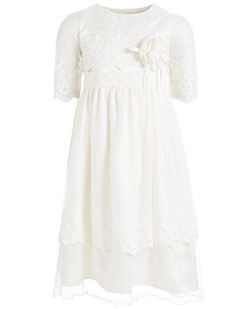 Bonnie Jean Little Girls Embroidered Lace Point D-Esprit Dress