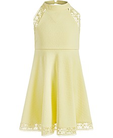 Little Girls Textured Halter-Neck Dress