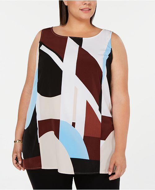 Alfani Plus Size Printed Tunic, Created for Macy's
