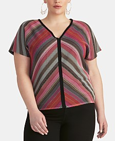 RACHEL Rachel Roy Trendy Plus Size Tie-Back Top