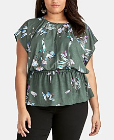 RACHEL Rachel Roy Trendy Plus Size Flutter-Sleeve Top